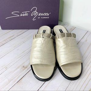 SESTO MEUCCI Metallic Silver Stacked Heel Slides 8